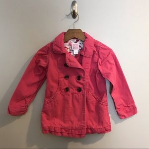 Old Navy Pink Cotton Pea Coat Jacket Long Girls 4T